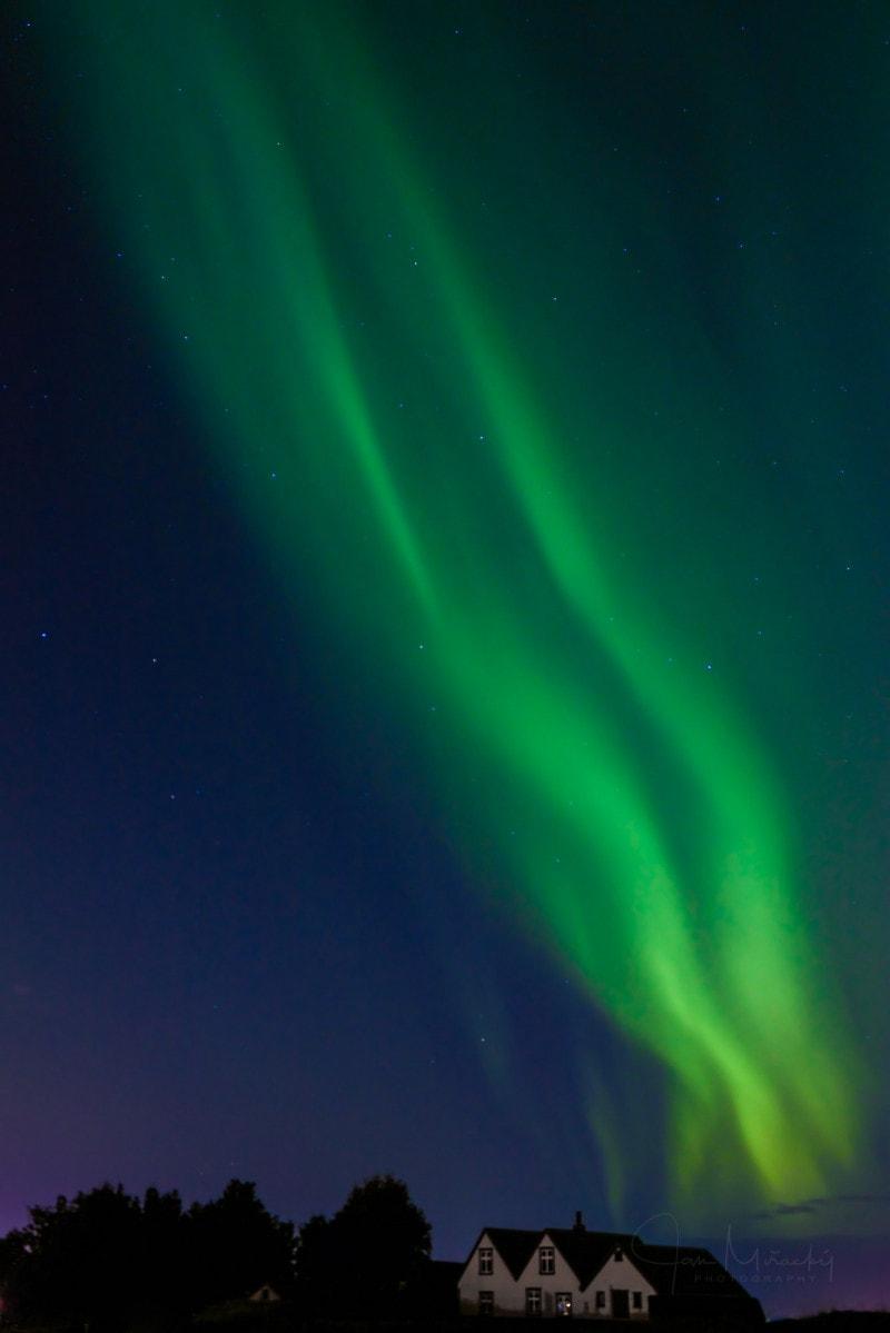 Aurora borealis over Old Reykjavík