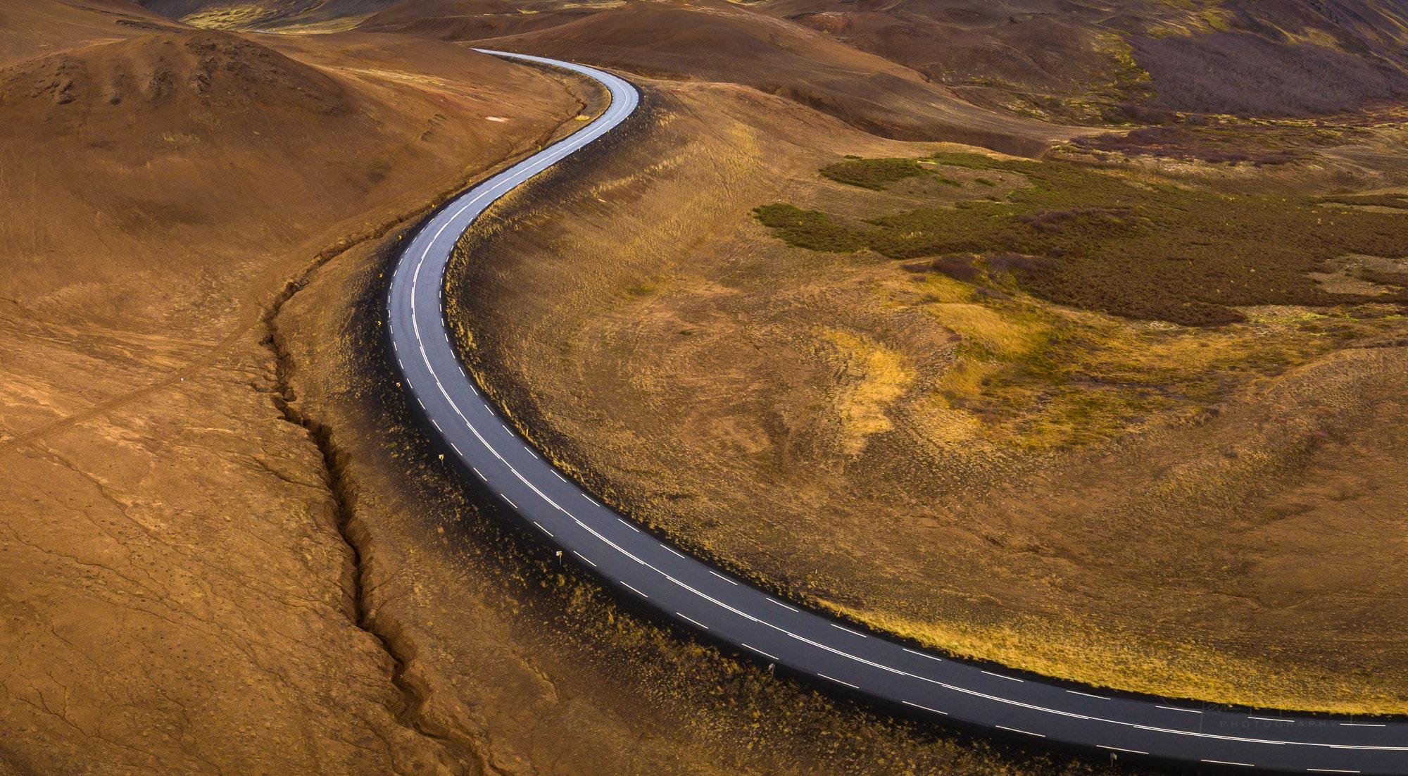 Road near Námafjall, Iceland