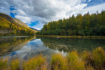 Lake in autumn in Alaska