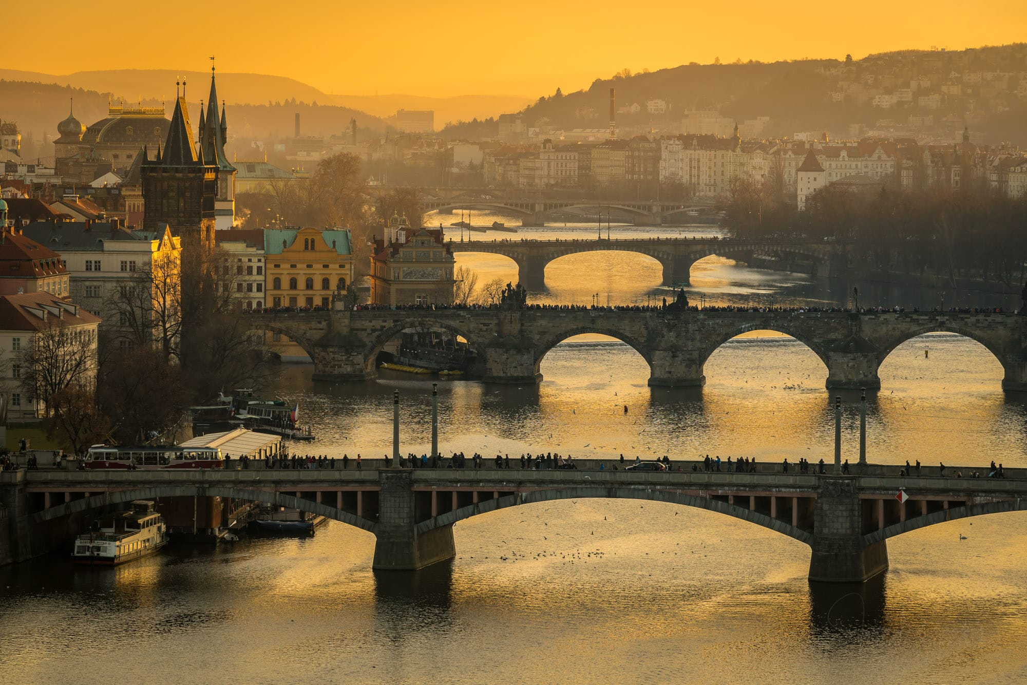 Bridges over Vltava River at sunset
