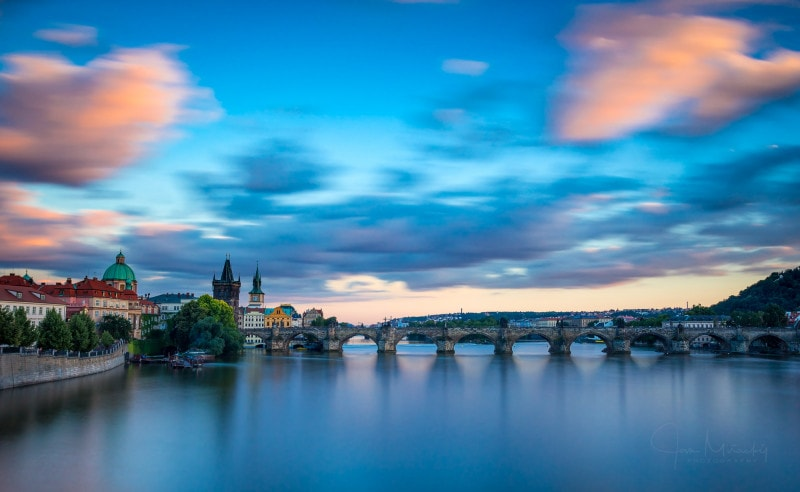 Charles bridge before sunset