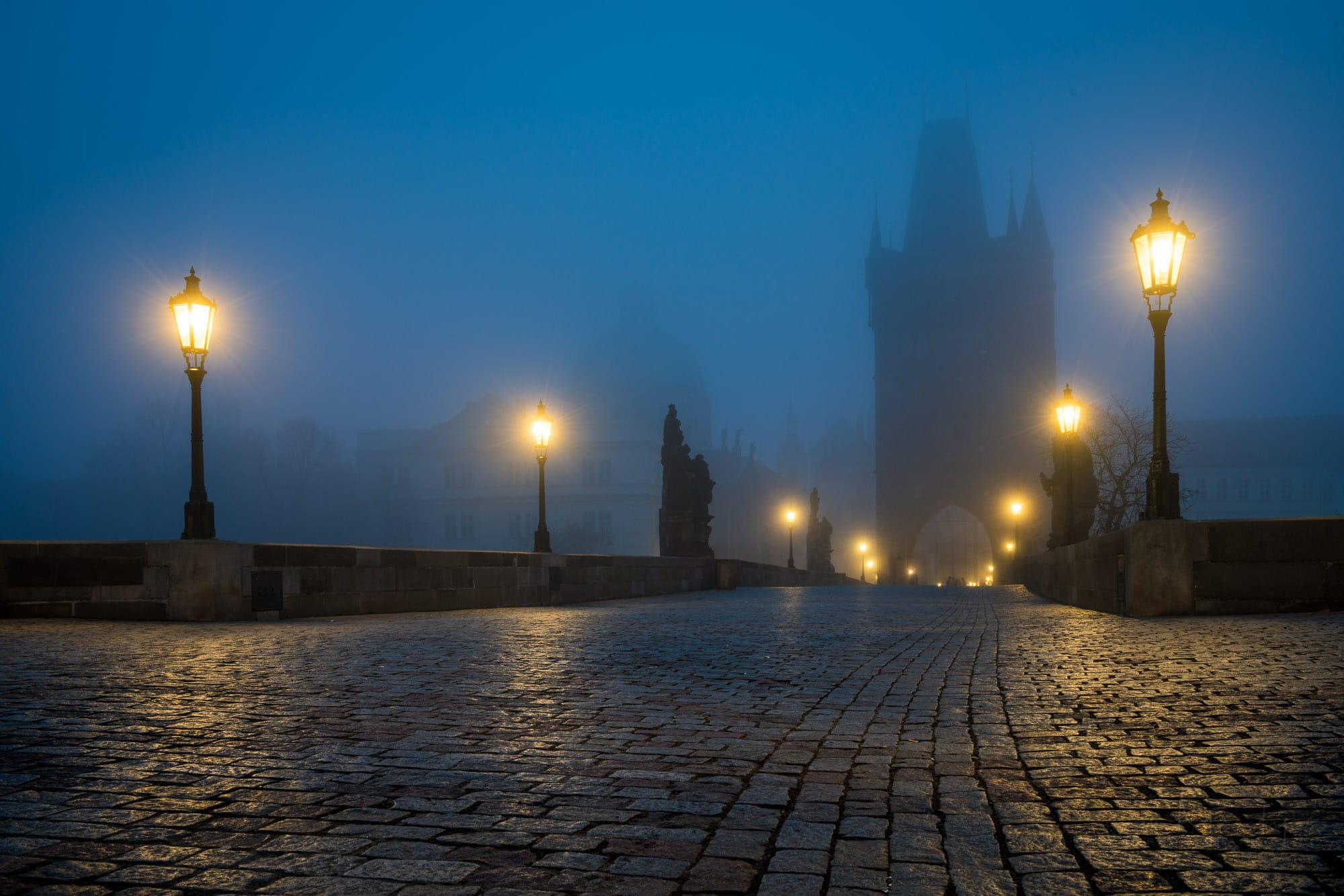 Foggy morning at Charles bridge