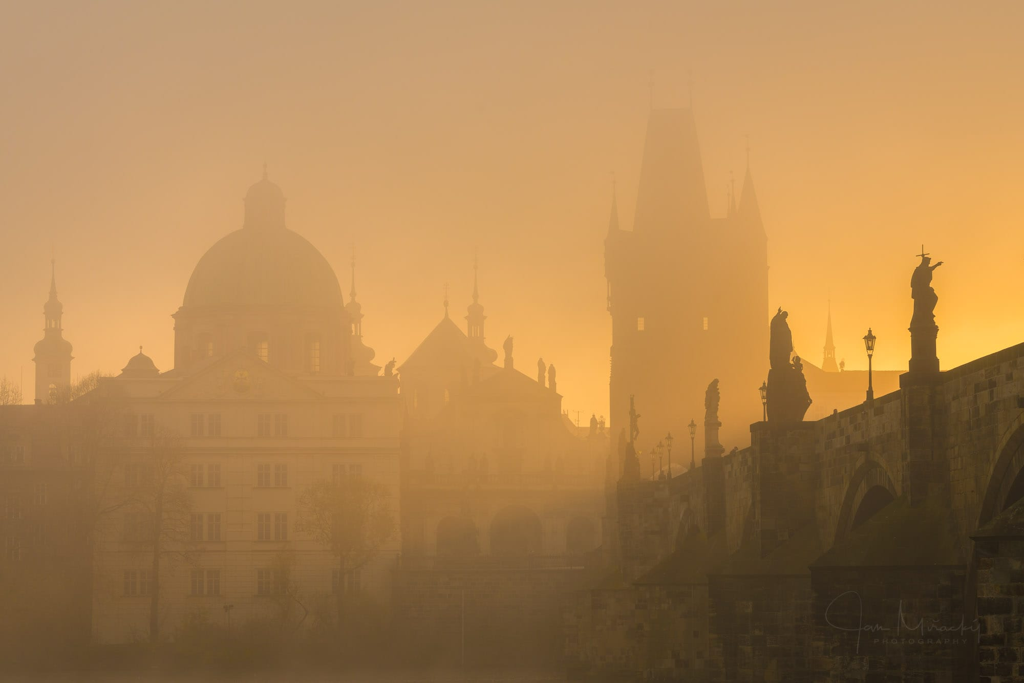 Sunrise silhouettes at Charles bridge