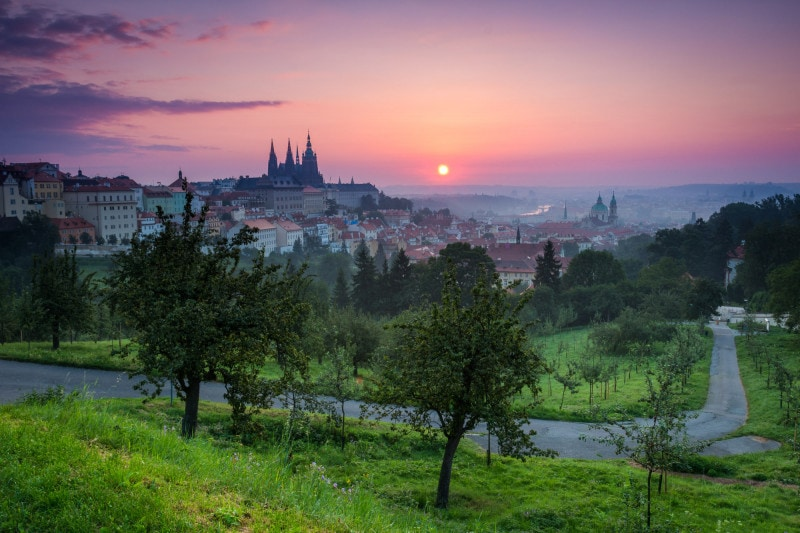 Prague Castle from Petřín park after sunrise