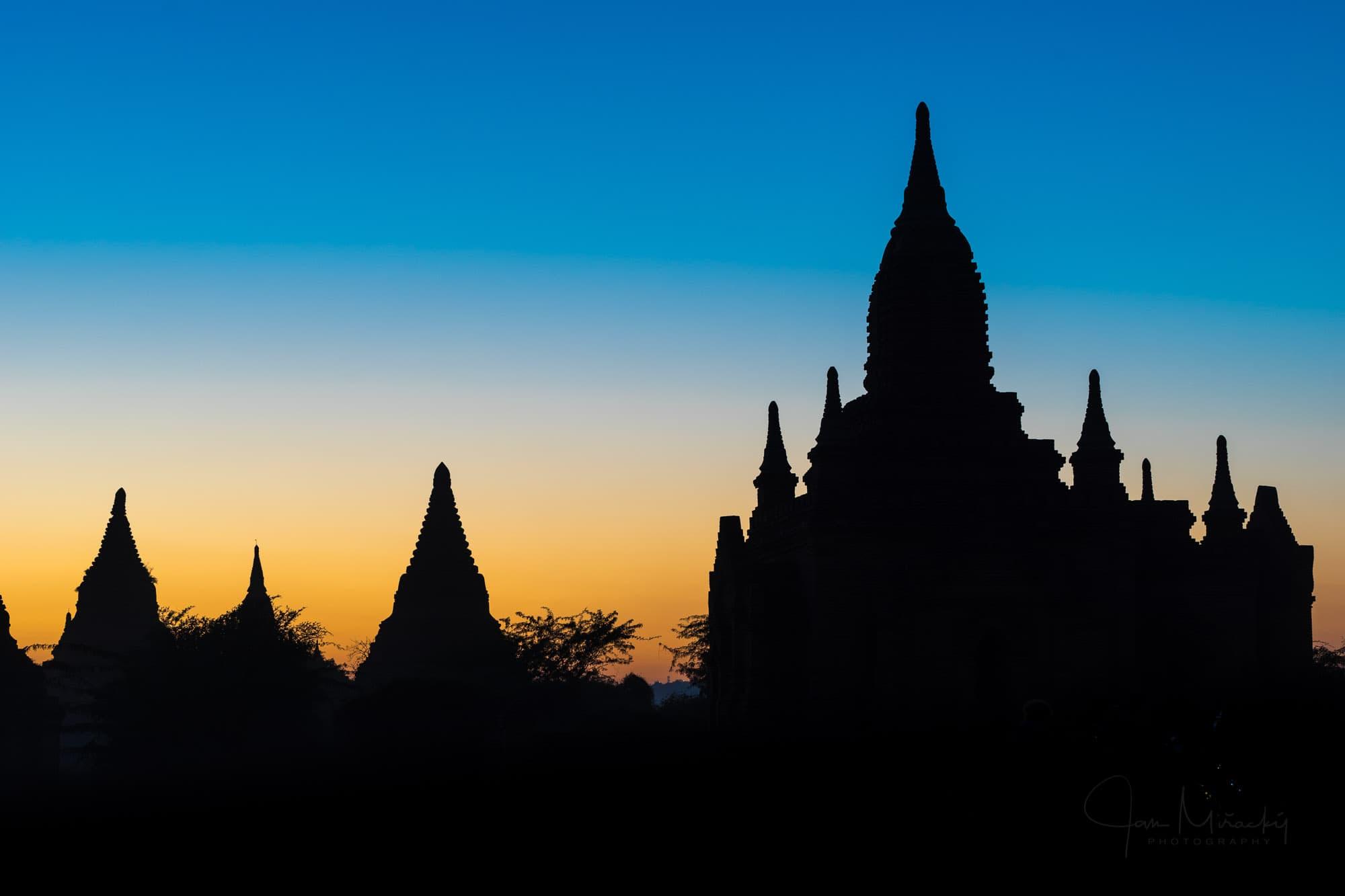 Temples of Bagan at dusk