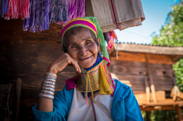 Old woman from Kayan (Padaung, Long-neck) tribe
