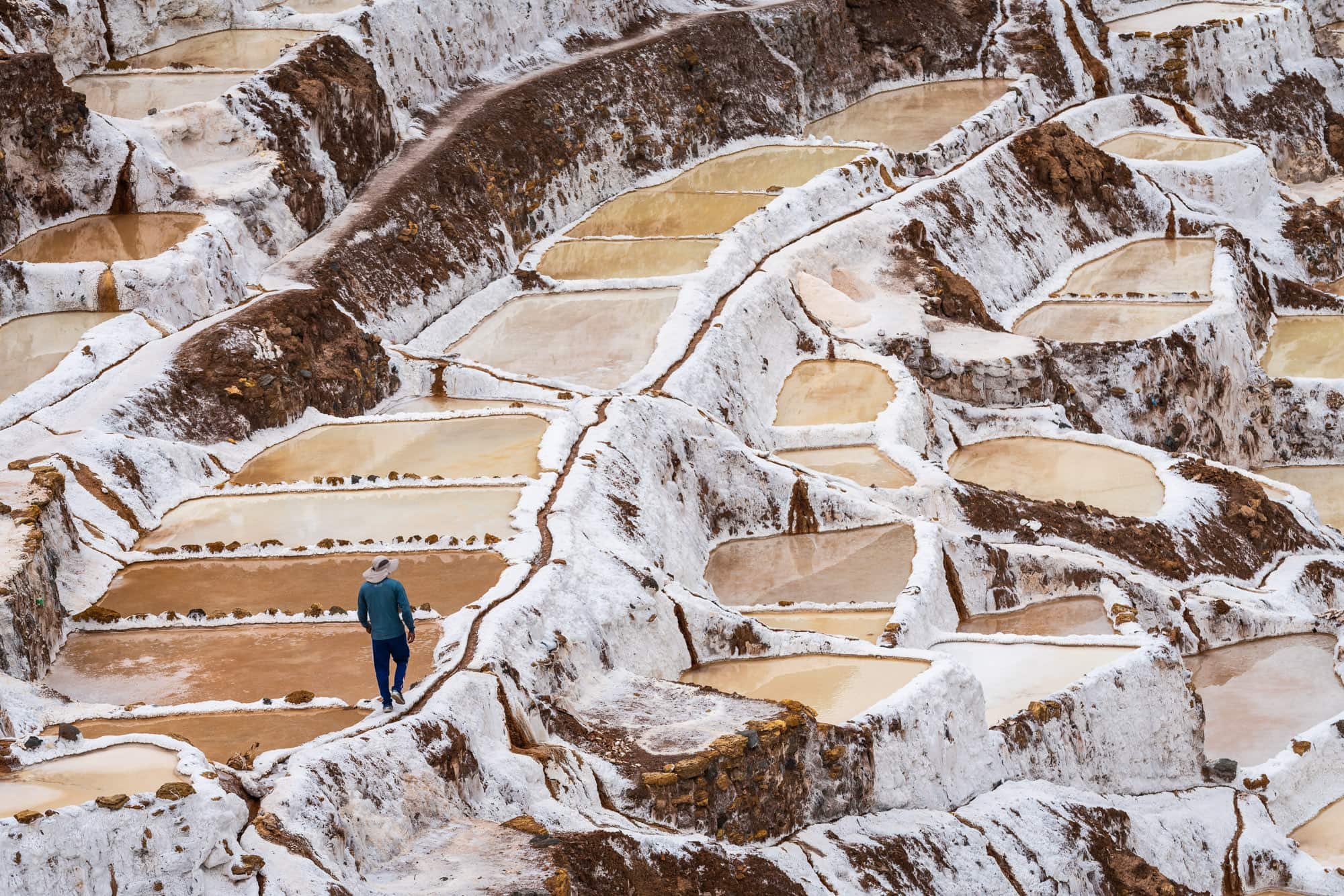 Worker at salinas de Maras