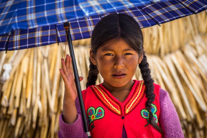 Young girl on Uros Islands