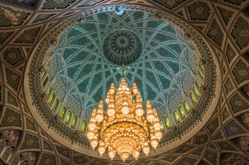 Chandelier inside Qaboos Mosque