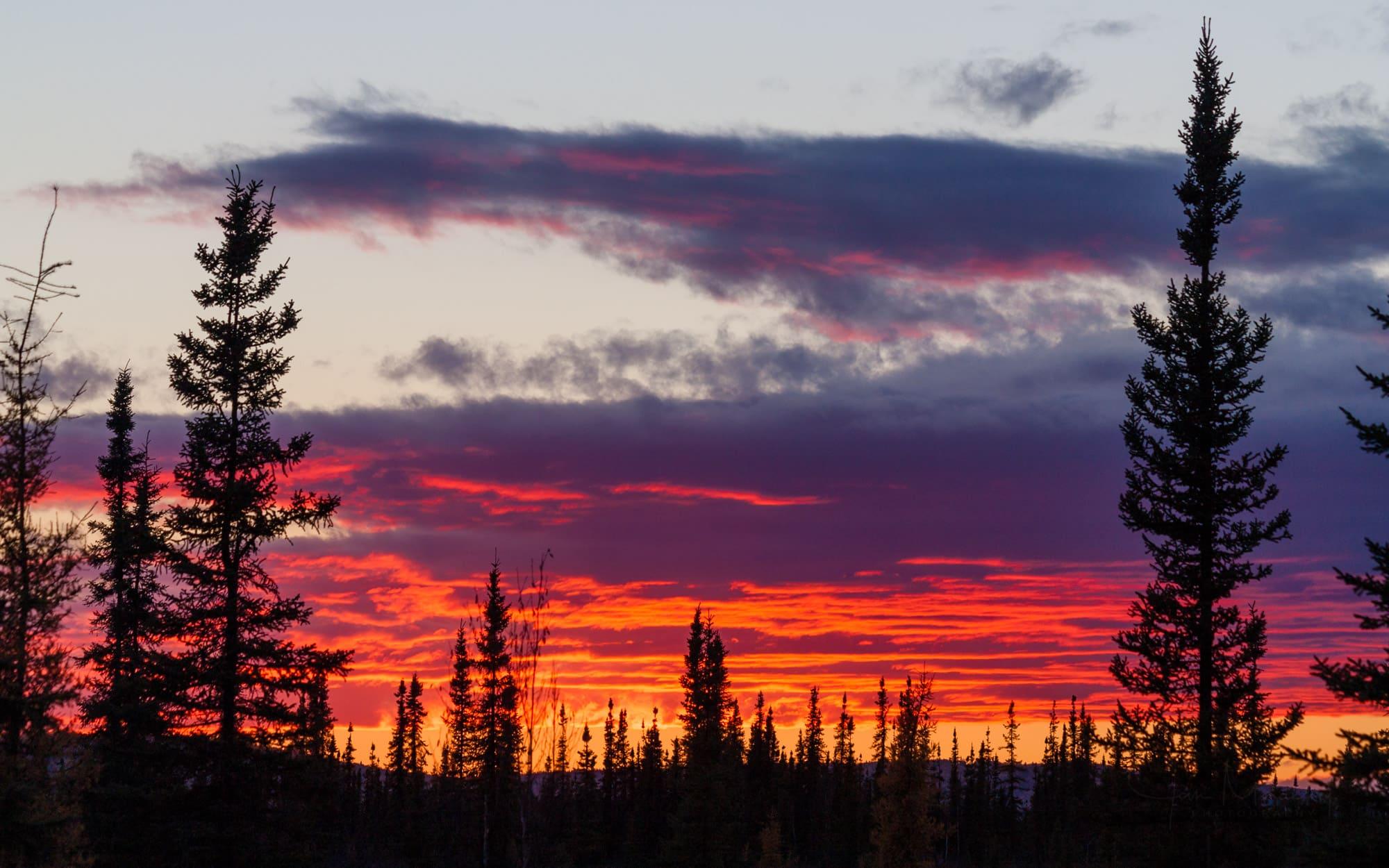 Red sunset near Fairbanks, Alaska