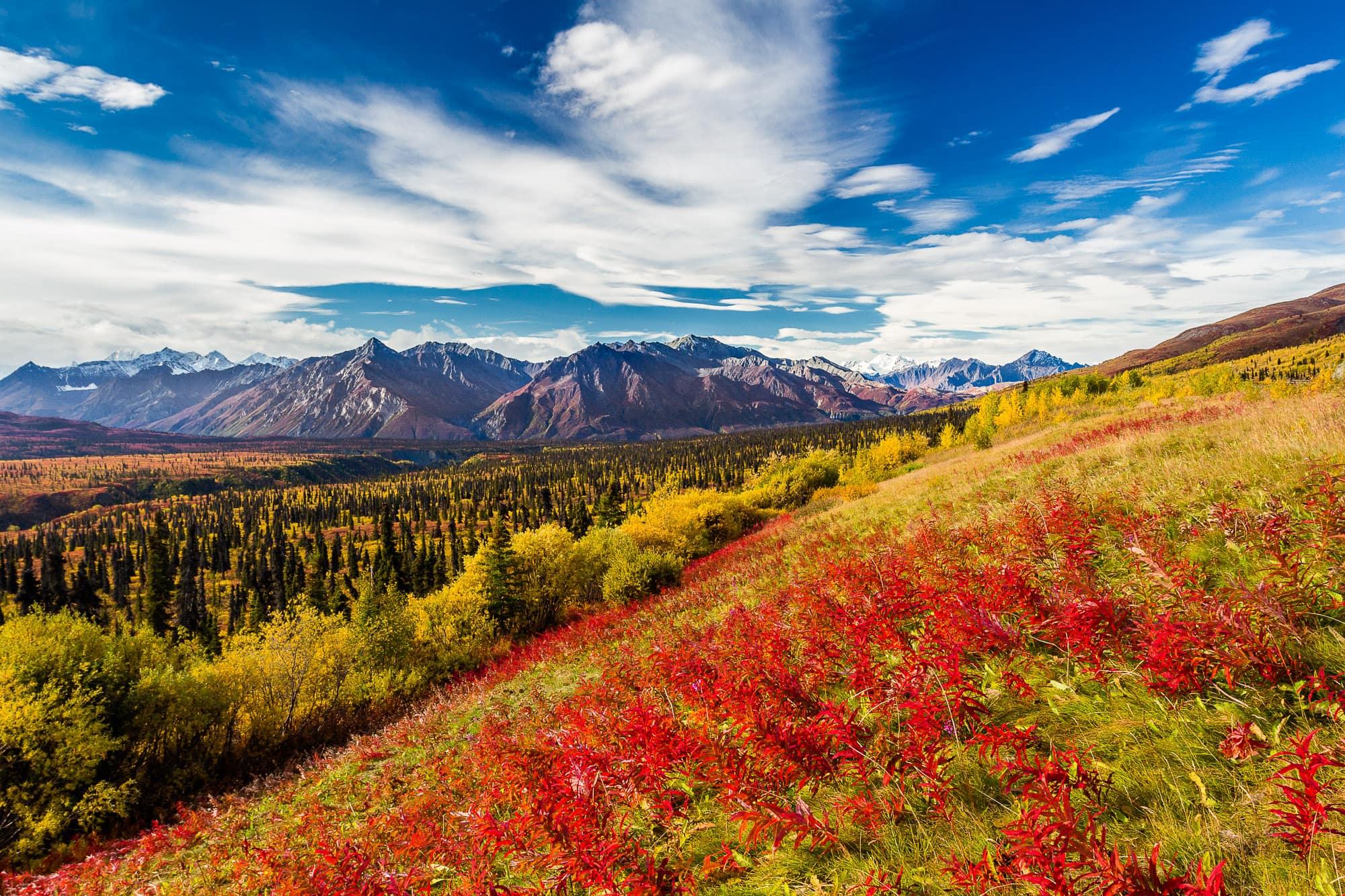 High mountains near Matanuska glacier in fall, Alaska