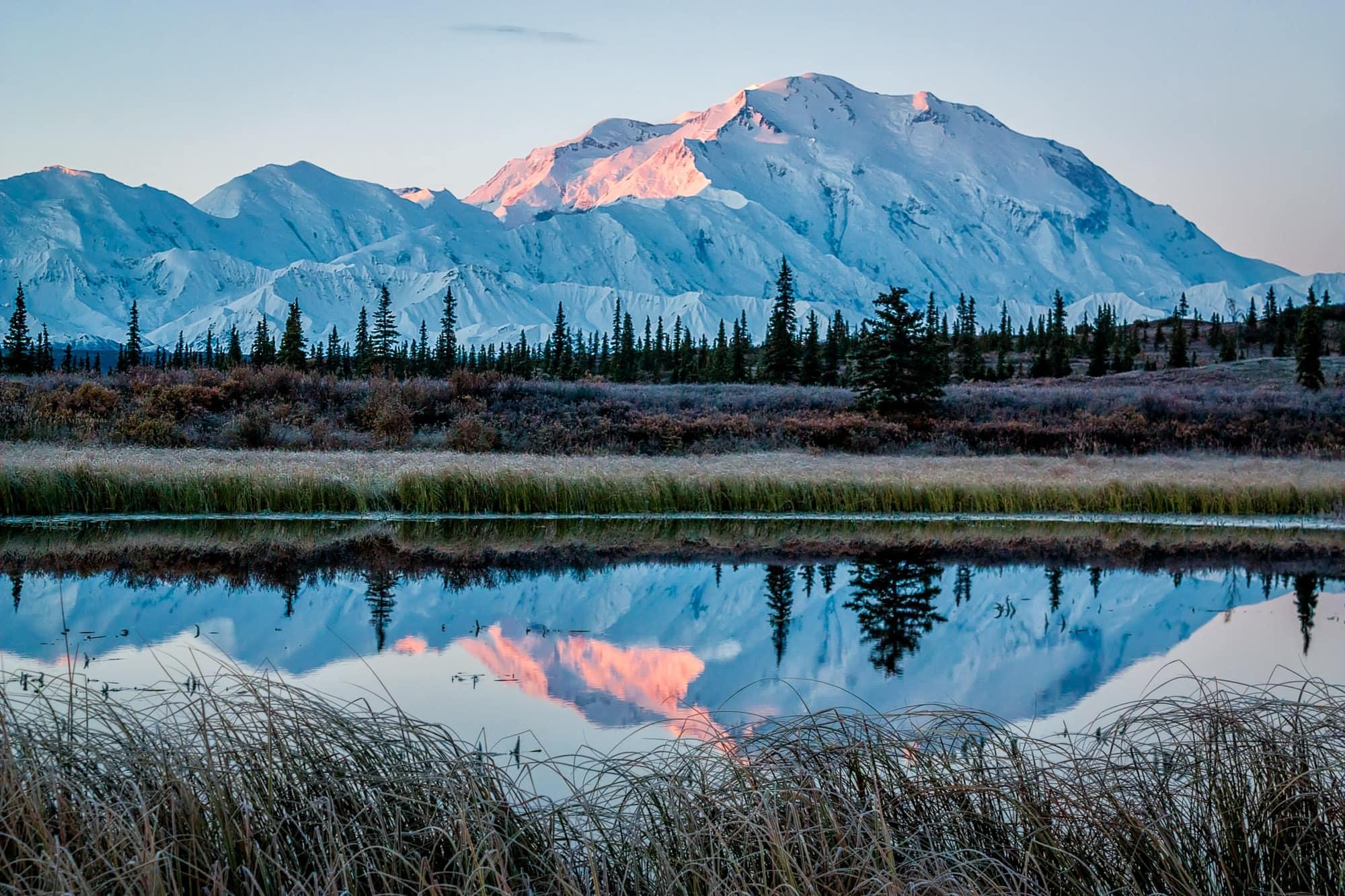 Mt. McKinley in NP Denali at sunrise, near Wonder Lake campsite, Alaska.