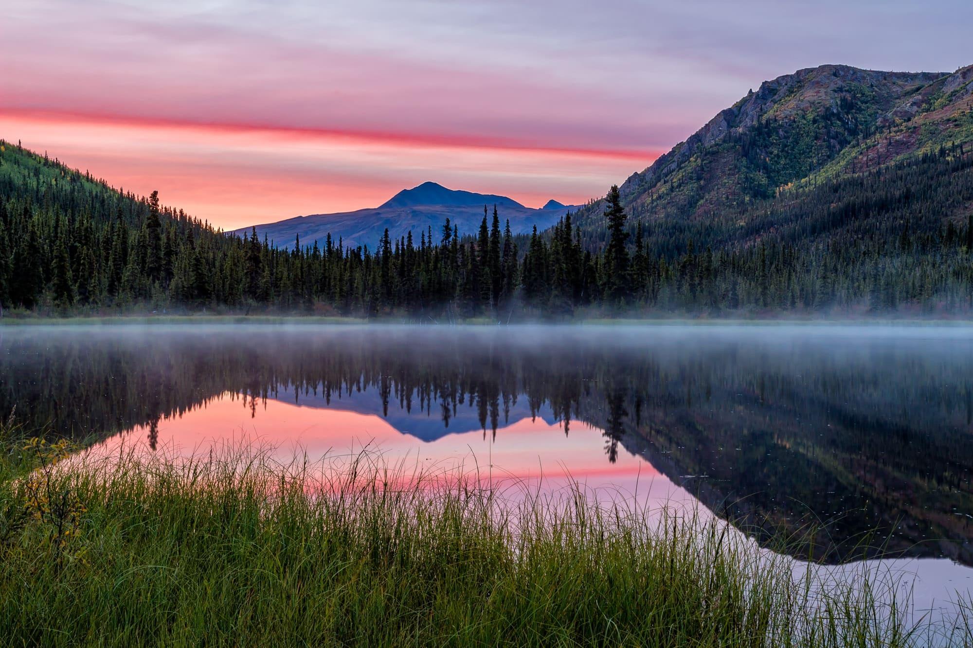 Foggy morning at Triple Lakes in Denali National Park, Alaska
