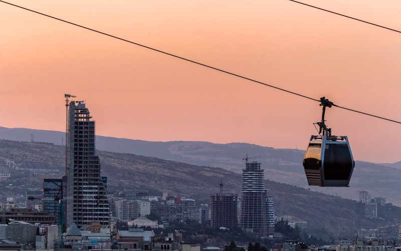 Cable car going to Narikala Fortress in Tbilisi
