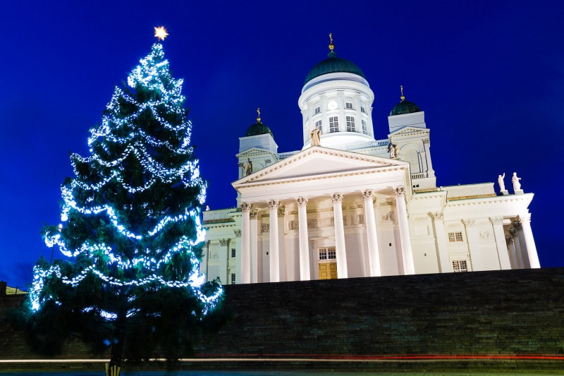 Helsinki Cathedral with Christmas tree