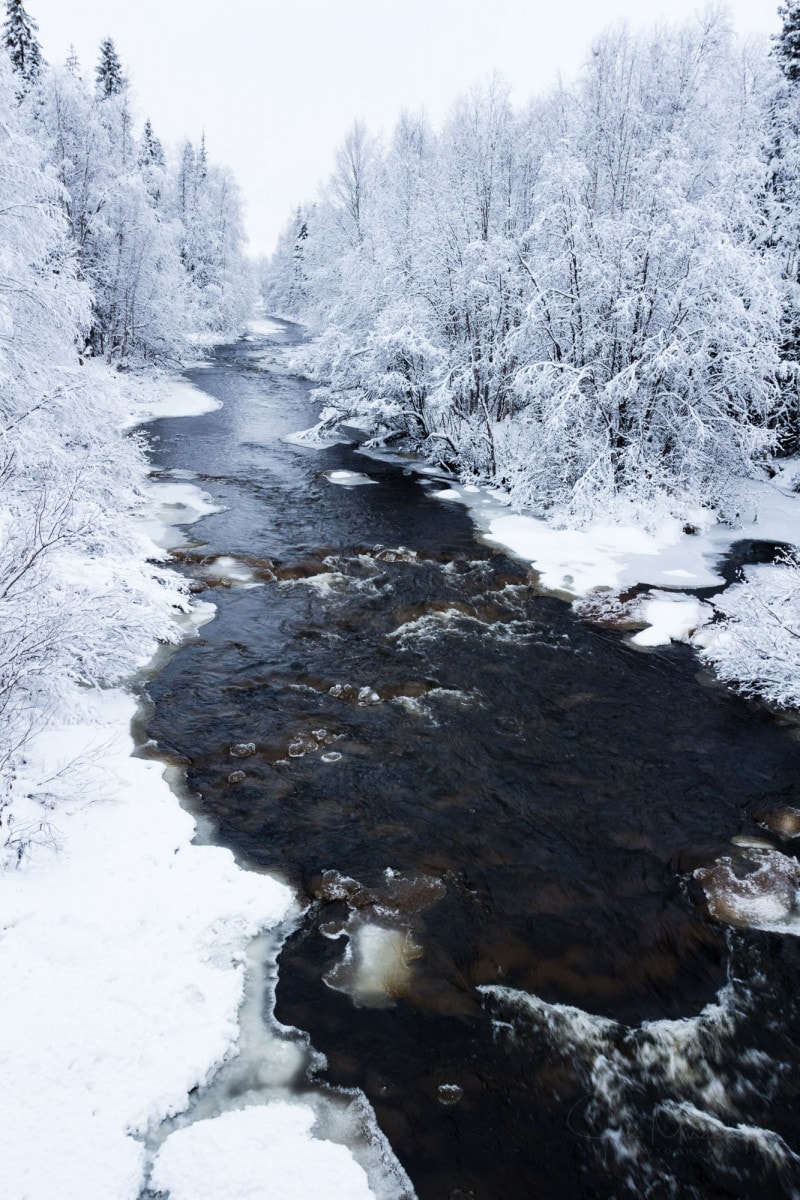 River at winter, Lapland