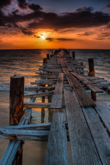 Wooden pier at sunset, Phuket