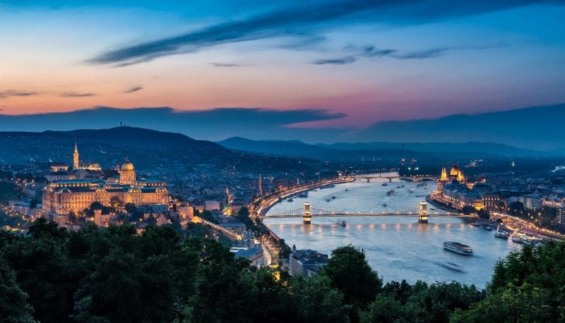 Budapest skyline at night