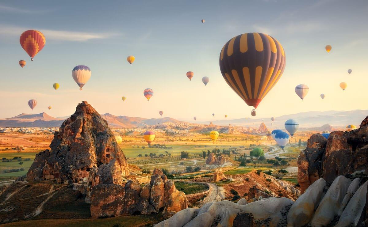 Hot air balloons flying over spectacular Cappadocia.Turkey