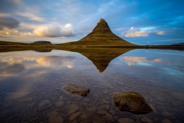 Kirkjufell mountain at sunset, Iceland