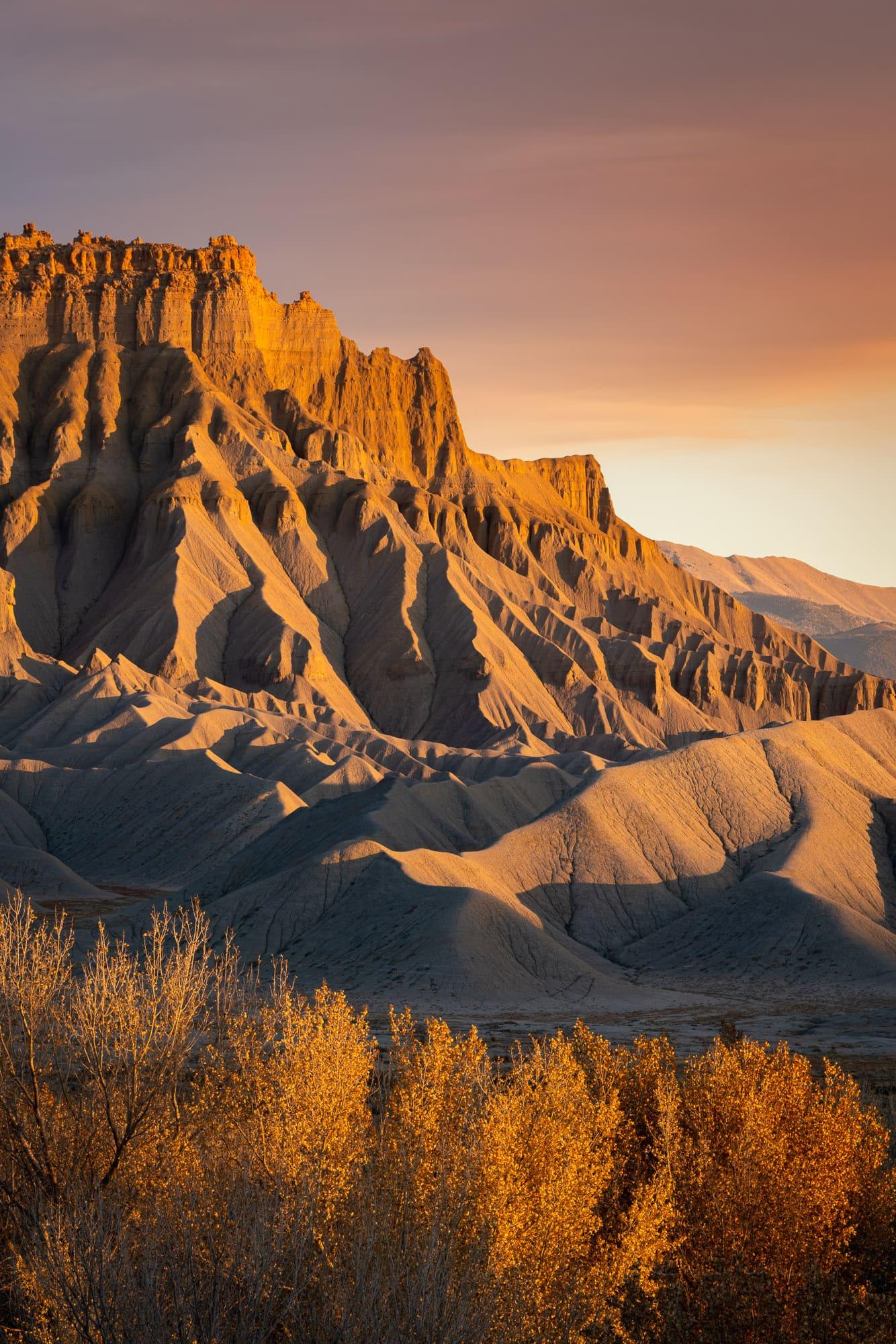 Caineville Mesa at sunset, Utah