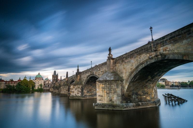 Charles bridge on cloudy day