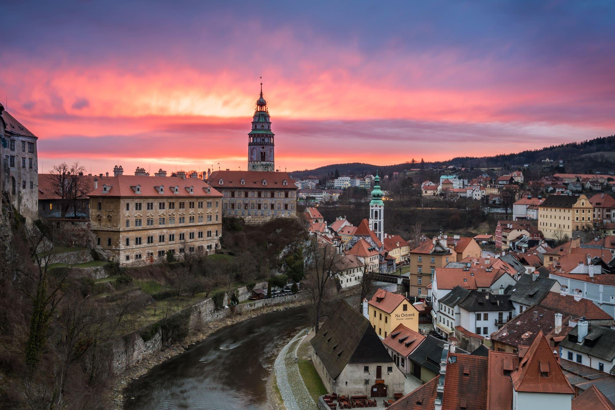 Chateau Cesky Krumlov at sunrise