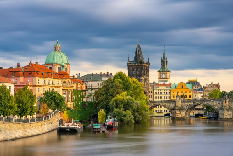 City skyline and Charles bridge