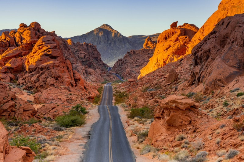 Straight road at sunrise, Valley of Fire State Park