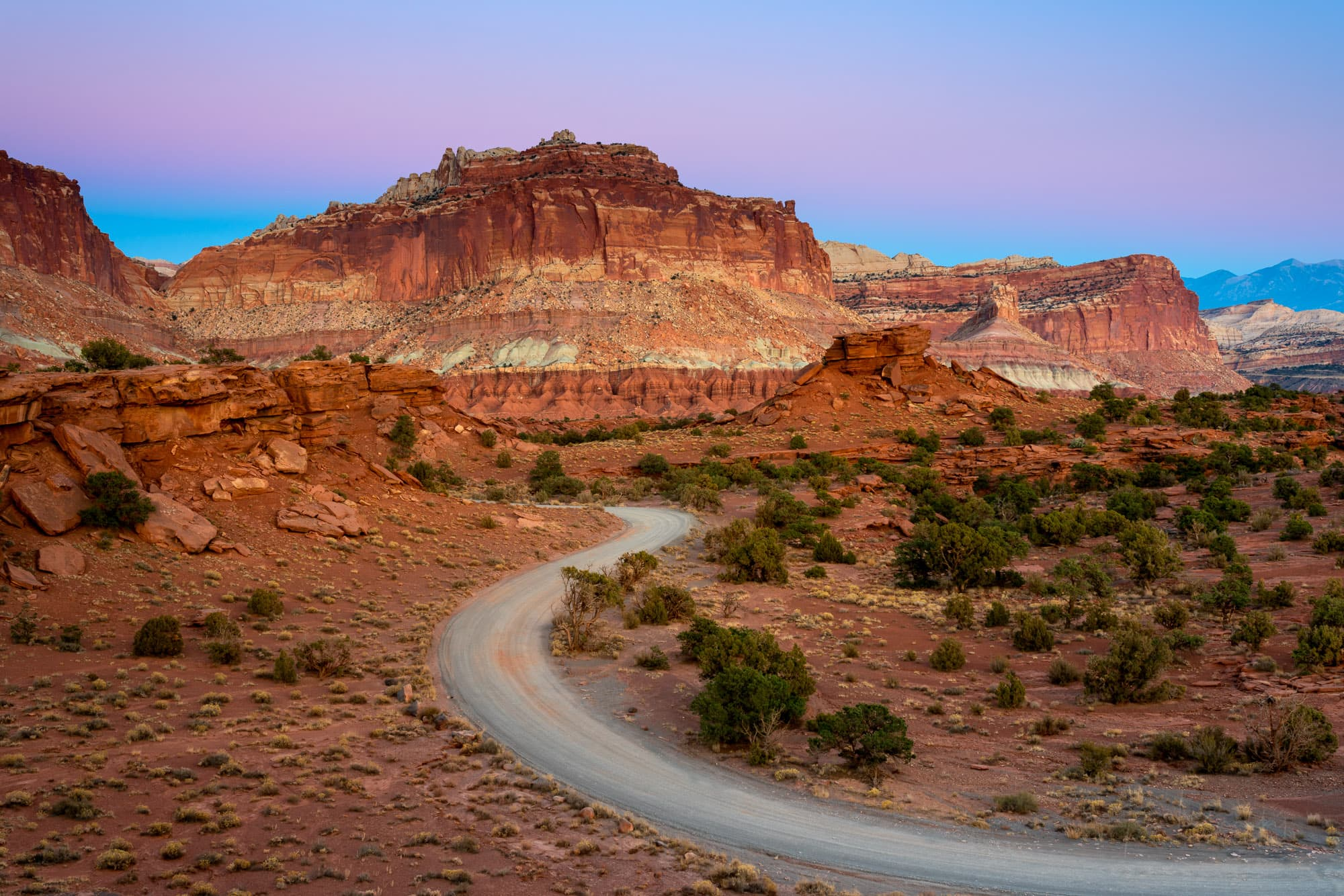 Whiskey Flat at dusk, Panorama Point, Capitol Reef National Park