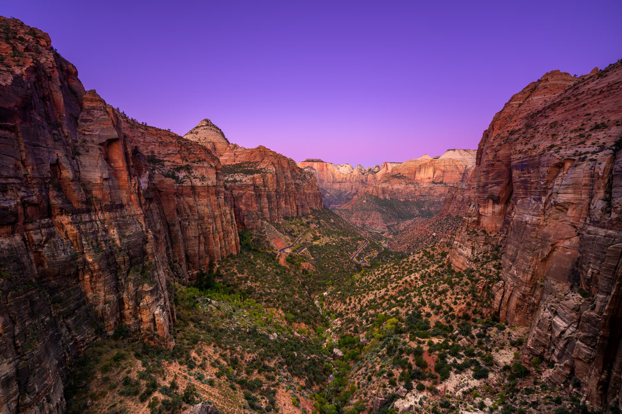 Zion Canyon Overlook before sunrise, Zion National Park